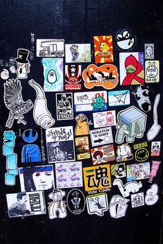street art sticker bomb
