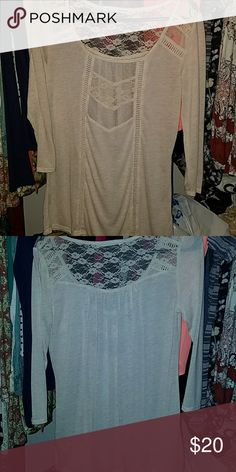 Super cute top It is a cream color with lace and is very soft.  Maybe worn once.  Fits like a medium. Maurices Tops