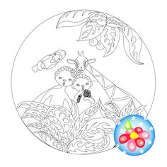 """Chunga-Changa. Coloring """"Children on a tropical island."""" This coloring page is designed for children. Coloring suitable for girls. by CreativeDesignForArt on Etsy"""