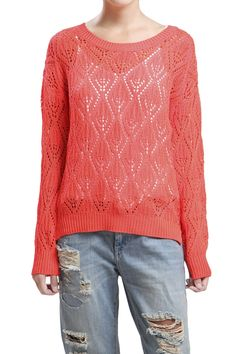 Bright Coral Light Diamond Knit Print Sweater