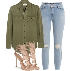 A fashion look from August 2015 featuring Yves Saint Laurent tops, J Brand jeans and Giuseppe Zanotti sandals. Browse and shop related looks.