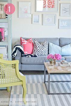 Sofa cinza com almofadas lindas!
