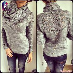 Вяжем вместе он-лайн Ажурный пуловер с воротом-хомутом.
