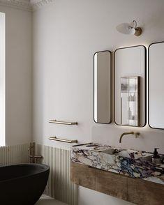 Timeless Bathroom, Beautiful Bathrooms, Modern Bathroom, Bad Inspiration, Bathroom Inspiration, Earthy Home, Living Tv, Dressing Room Closet, Art Deco Bathroom
