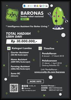 #InfoLomba #LombaRobot #BARONAS #ITS #Surabaya BARONAS 2018 Lomba Robot Tingkat Nasional  DEADLINE: 17 Maret 2018  http://infosayembara.com/info-lomba.php?judul=baronas-2018-lomba-robot-tingkat-nasional-berhadiah-total-30-juta-rupiah