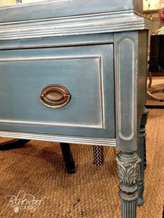 Vintage Furniture white wax on painted furniture, chalk paint, painted furniture - I recently painted a hutch in Aubusson Blue Chalk Paint and when I was done it looked a little well blue. So I decided to apply White Wax to highlight the detai… Refurbished Furniture, Repurposed Furniture, Furniture Makeover, Blue Painted Furniture, Painted Hutch, Blue Distressed Furniture, Painted Buffet, Dresser Makeovers, Dresser Ideas