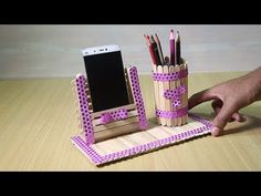 Homemade Pen stand and Mobile phone holder with ice cream sticks - How to Make Yellow Paper flowers – Flower Making of Crepe Paper – Paper Flower Tutorial – You - Diy Popsicle Stick Crafts, Popsicle Stick Houses, Diy Home Crafts, Fun Crafts, Resin Crafts, Baby Crafts, How To Make Yellow, Diy Phone Stand, Ice Cream Stick Craft