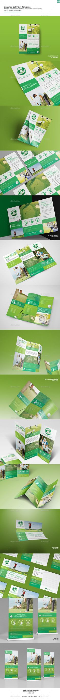 Golf Trifold Brochure Template PSD, Vector EPS, InDesign INDD, AI