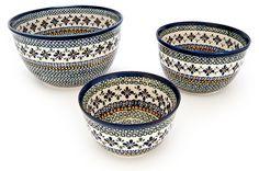 Polish pottery mixing bowls