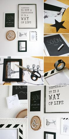 Gingered Things, DIY, decoration, wall, groovy magnets, nails, yarn, masking tape, frames, pictures, entrance