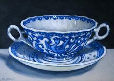 """Daily+Paintworks+-+""""Soup+Bowl""""+-+Original+Fine+Art+for+Sale+-+©+Margaret+Horvat"""
