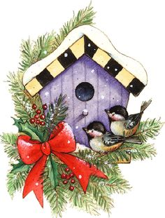 CHRISTMAS BIRDHOUSE CLIP ART