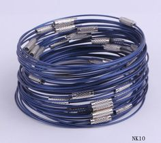 $1.11  9 Inches Dark Blue Tiger Tail Bracelets Wire Thread Chain Jewelry Making