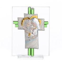 Bomboniera Matrimonio Croce S. Famiglia vetro Murano acquamarina h. 10,5 cm | vendita online su HOLYART