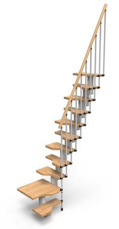 Gamia Mini Space Saving Stair Kit (Loft Stair) with Silver Grey metalwork & Solid Beech Treads & Handrail (Natural shade) - Prices start from £780.00 (Inc VAT & UK Mainland Delivery)