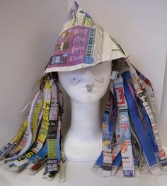paper hat, maybe with pages from an old book or ph book? For Crazy Hat Day at school.