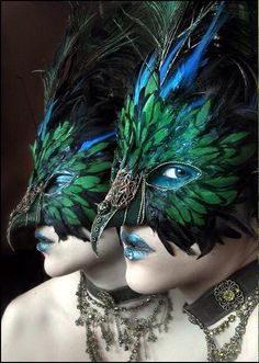 Halloween or a Mardi Gras Ball. Peacock Mask, Feather Mask, Peacock Bird, Peacock Costume, Blue Feather, Peacock Feathers, Medusa Costume, Green Peacock, Peacock Colors