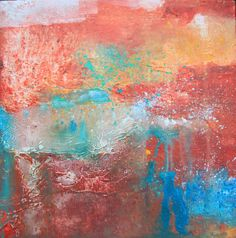 abstract art - Red Square Painting - abstract red, red artwork, acrylic on canvas