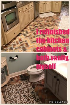 Renovations that were done after the flood. I antiqued my kitchen cabinets and distressed my half bath vanity, all by myself. A lot of work, but so worth the end results. Truly looks farm housy