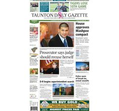 The front page of the Taunton Daily Gazette for Thursday, Oct. 10, 2013.