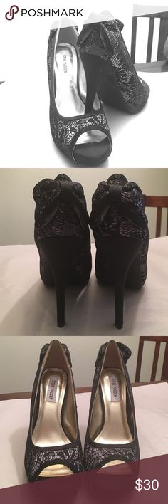 Chic Steve Madden Heels Black lace heels with bow on the heel! Worn once! Fun shoes to dress up any outfit! 4 inch heel! The lace is black with a gray undertone. Steve Madden Shoes Heels