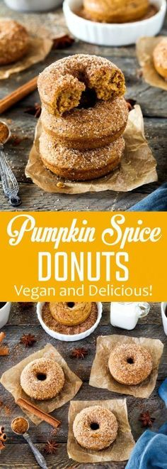 These Cinnamon Sugar Pumpkin Spice Donuts are the perfect way to welcome fall! They're warm-spiced, pumpkiny, vegan and delicious! #vegan #pumpkinspice #donuts #doughnuts #fallrecipes #vegandonuts #veganhuggs #pumkindonuts