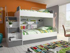 Etagenbett Kinderbett Beto mit seitlicher Treppe links #etagenbett #kinder #weiss #grau