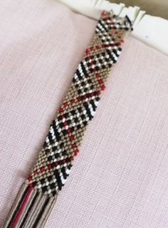Burberry friendship bracelet. Link to pattern - someone should learn how to do this and make me one
