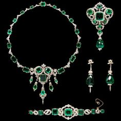 One of the most breathtaking suites of emerald jewelry in existence  is the Seringapatam Jewels. The ornate set consists of a necklace,  brooch, bracelet, and pair of drop earrings created from magnificent  emeralds, a multitude of diamonds, gold, and silver. The emeralds  were originally a reward given to British Major-General George  Harris, following a victory at the Battle of Seringapatam in India in  1799. The stones were reset by his descendants into the current items in 1874-1887.