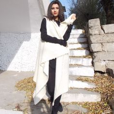 Asymmetric Sleeveless Coat / Italian Wool Coat  / Wool  by Teyxo, $135.00