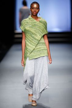 SIES!isabelle winter 2013, Hand knitted scarf top and Kath pants. Jewelry by Scarlet