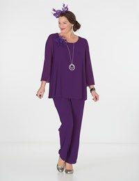 Plus size Box 2 purple chiffon 3/4 sleeve top and trouser