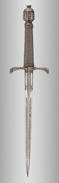 A German Small Left-Hand Dagger With Silver-Encrusted Iron Hilt. This and other important arms & armor on the CuratorsEye.com