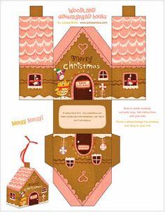 Christmas Free Printable House Shaped Boxes.