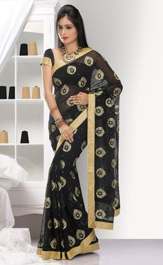 Best Black Chiffon Modern Saree With Blouse For Weddings Outfits