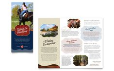 Horse Riding Stables and Camp Tri Fold Brochure Design Template by StockLayouts