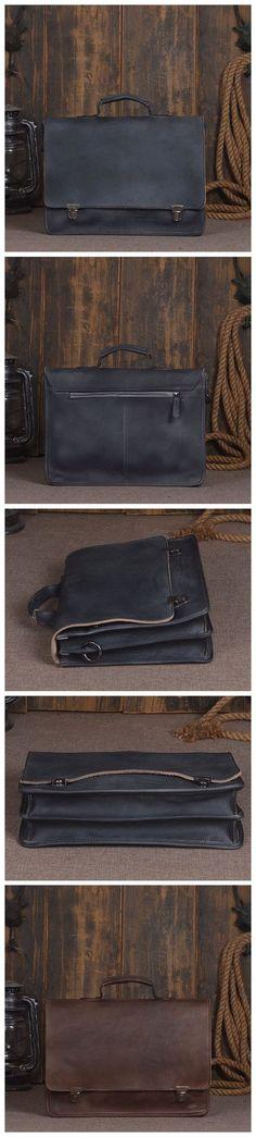 ROCKCOW Full Grain Genuine Leather Laptop Bag, Messenger Shoulder Bag, Men Business Briefcase 9013
