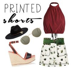 """""""Untitled #41"""" by kirac on Polyvore featuring Topshop, Seafolly, Ray-Ban, Valentino and printedshorts"""