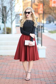 LOFT sequin boatneck tee, burgundy midi skirt, holiday style, holiday party outfit, Stuart Weitzman black leather Nudist sandals, sparkly gold clutch, holiday fashion