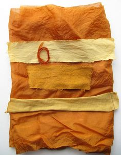 Eva of Tinctory used onion skins to dye this fabric which is used for her artistic creations.
