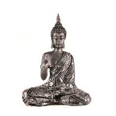STATUE BUDDHA Sitting Silver Hand Up 17.5cm | Karma Living