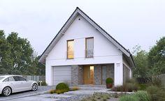 Dostępny 4A - wizualizacja 2 - mały dom z garażem jednostanowiskowym i antresolą Tudor House Exterior, Home Office Design, House Design, House Extension Design, Bungalow Renovation, House Extensions, Facade House, Design Case, Home Fashion
