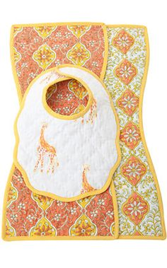 Udaipur Burb and Bib Set: Made in India of 100% cotton. Machine wash. #Bib #Babies #India