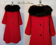 Gorgeous Vintage 60s Lilli Ann Red Mohair Fox Fur Trim Swing