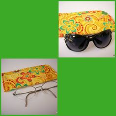 Slide in Sunglass Case or Eyeglass Case Bright Yellow with Blooms and Swirls  Choose Your Size