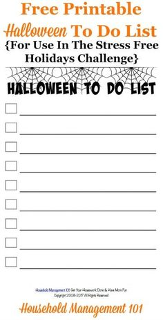 Free printable Halloween to do list, for use in the Stress Free Holidays Challenge, to track the tasks you need to accomplish before the holiday {courtesy of Household Management 101}