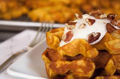 Pumpkin Waffles with Maple Cinnamon Spiced Yogurt