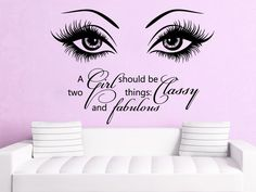 Eye Wall Decals Make Up Vinyl Stickers Beauty Salon Quote A Girl Home Decor SM94