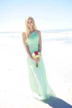 Fabulous sleeveless one shoulder mint green long chiffon bridesmaid dress features glittering beads on the top and side waist,  straight skirt flows elegantly and flattering.