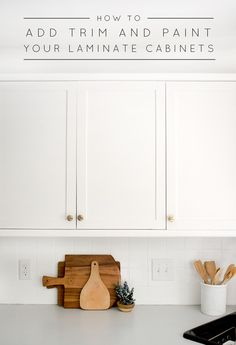 Laminate cabinets, Laminate cabinet makeover, Cheap kitchen cabinets, Laminate kitchen cabinets, Old Formica Cabinets, Painting Laminate Cabinets, Melamine Cabinets, Diy Cabinets, Trim On Cabinets, Diy Painting Kitchen Cabinets, Reface Cabinets, Shaker Cabinets, Kitchen Paint